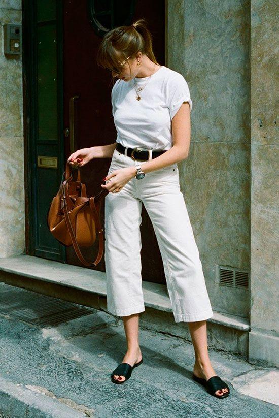 Este sería un ejemplo de jeans 'culotte', con un largo por debajo de la rodilla
